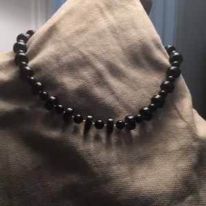 Black lucite modernist shapes necklace 18 inches